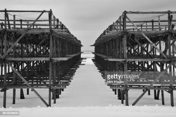 Wooden dry dock in winter, Wakkanai.