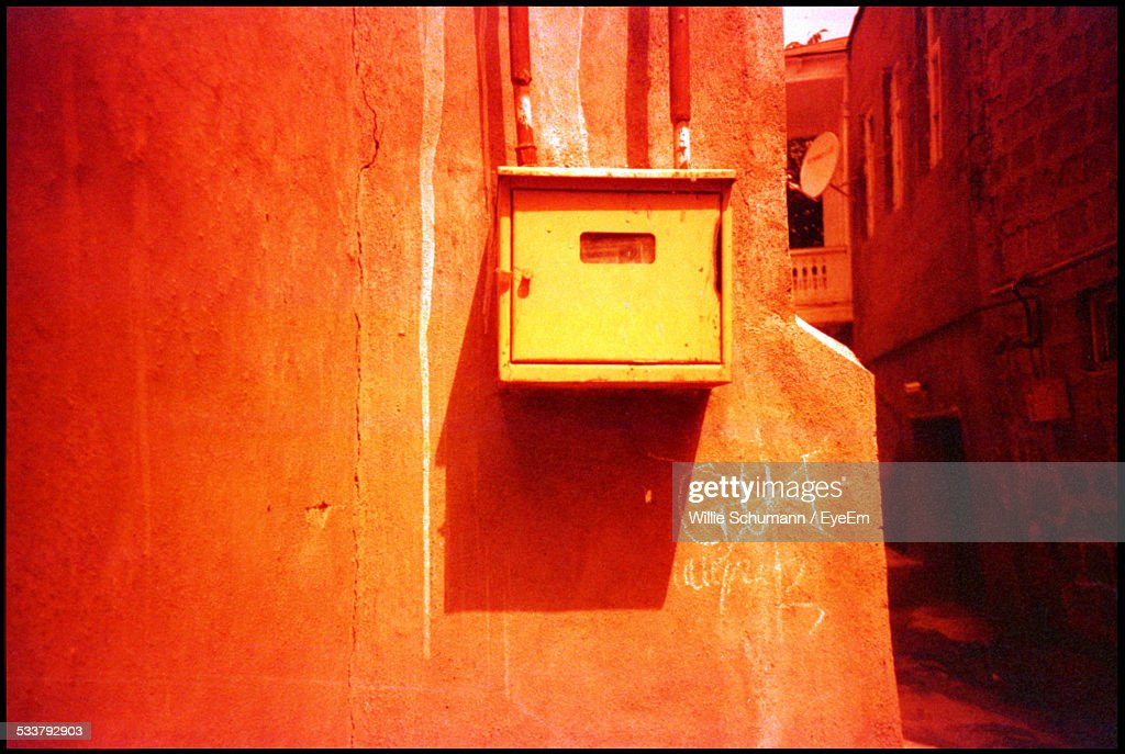 Wooden Electrical Box On Wall : Foto stock