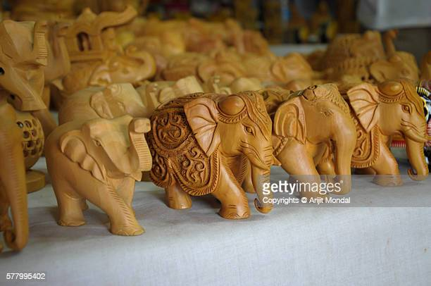 Wooden elephants for sell in local Jaipur market in Rajasthan