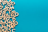 Wooden english letters background