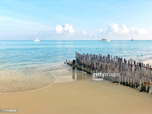wooden fence on beach, playa norte, isla mujeres, quintana roo, yucatan peninsula, mexico - mujeres fotos stockfoto's en -beelden