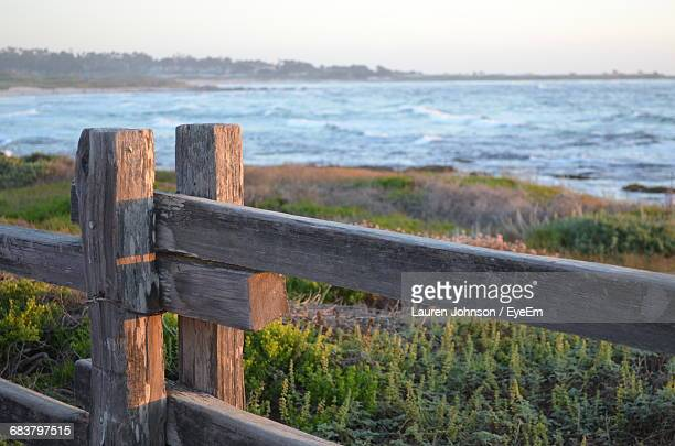 wooden fence on grassy field by lake - lauren wooden johnson stock photos and pictures
