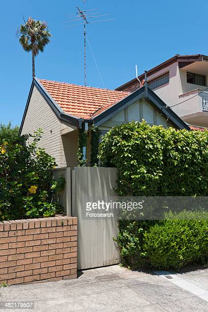 Wooden fence outside of middle class home