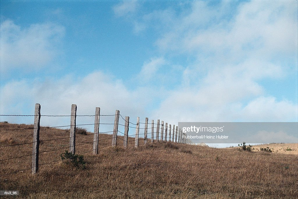 wooden fence posts carrying barbed wire separated dead grass under a blue sky with white clouds : Foto de stock