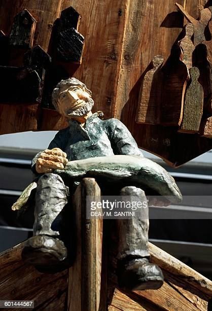 Wooden figurine of a fisherman on a boat's prow Arendal AustAgder County Norway