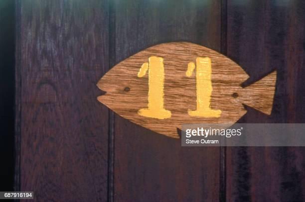 Wooden Fish Room Number on Door, Bwejuu, Zanzibar, Tanzania