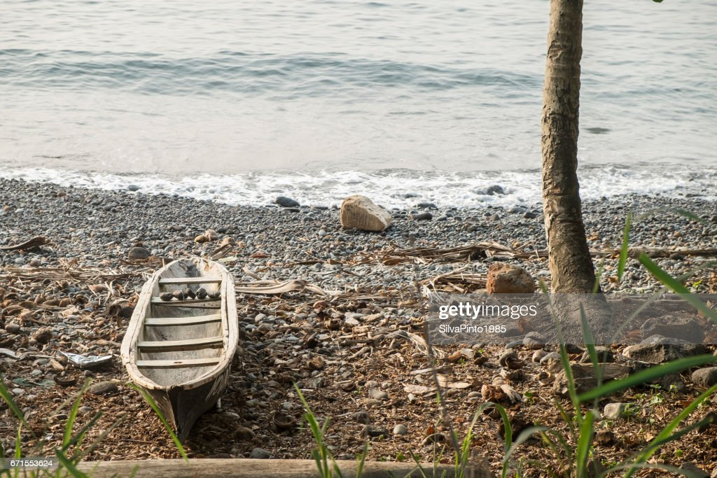 Wooden Fishing Boat On The Tropical Island Of Sao Tome Stock Photo