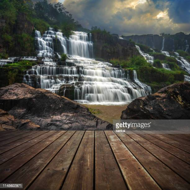 wooden floor and beautiful landscape at sunset. - woodland stock pictures, royalty-free photos & images