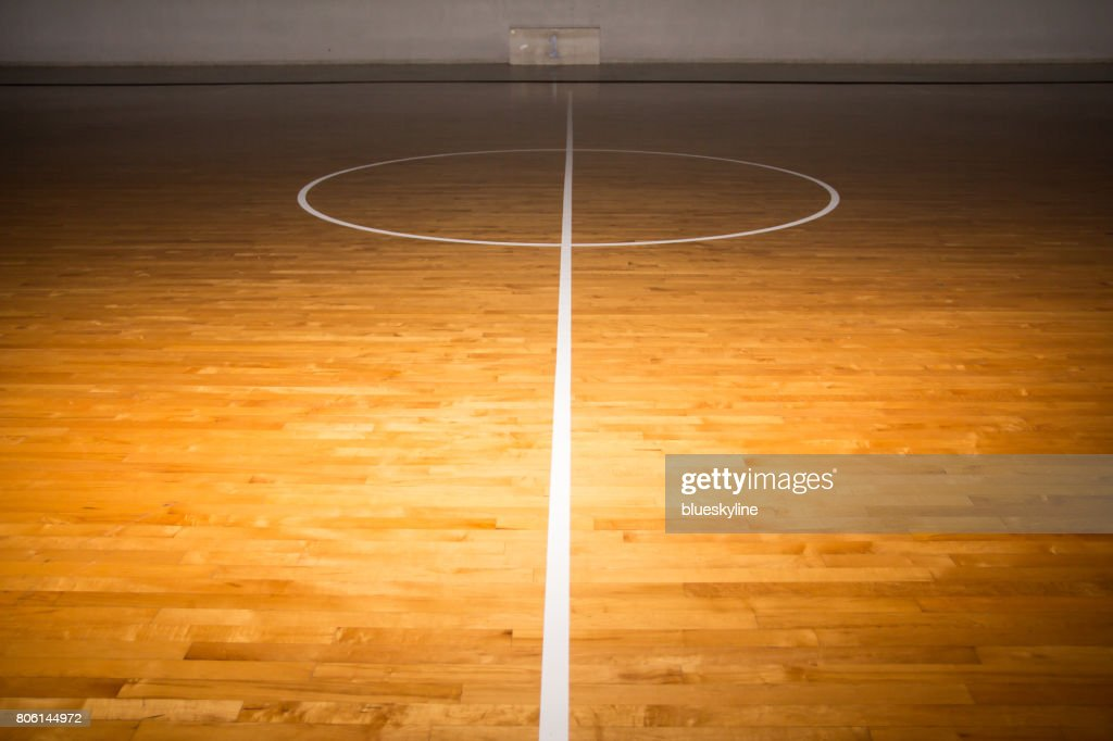 Wooden Floor Basketball Court With Light Effect Stock Photo Getty