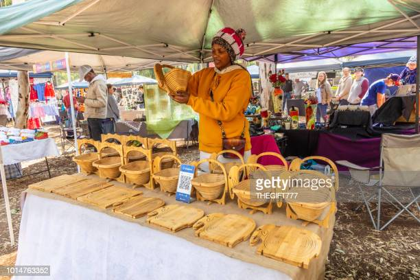 Wooden fold away bowls on display at Irene Market
