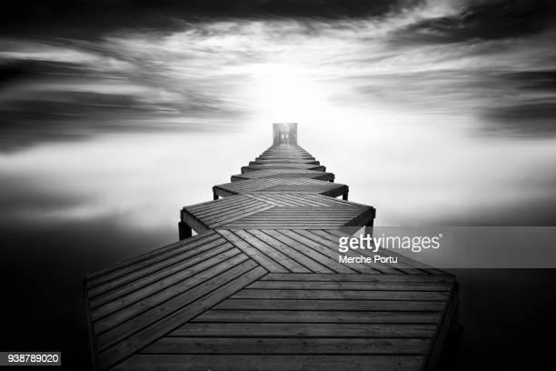 Wooden footbridge over the sea