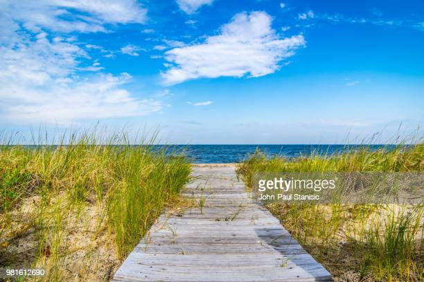 wooden footpath on beach, long island, new york, new york state, usa - long island stock pictures, royalty-free photos & images