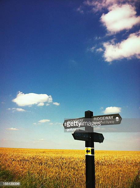 wooden footpath sign on the ridgeway national trail - oxfordshire stock pictures, royalty-free photos & images