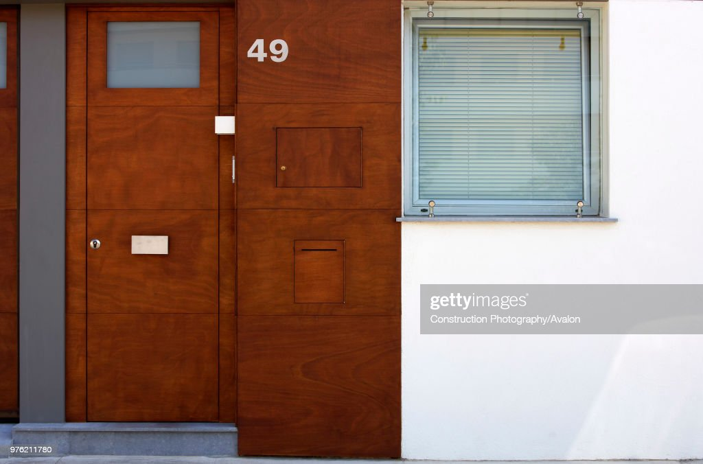 Wooden Front Door With Letter Slot, House Number And Window.