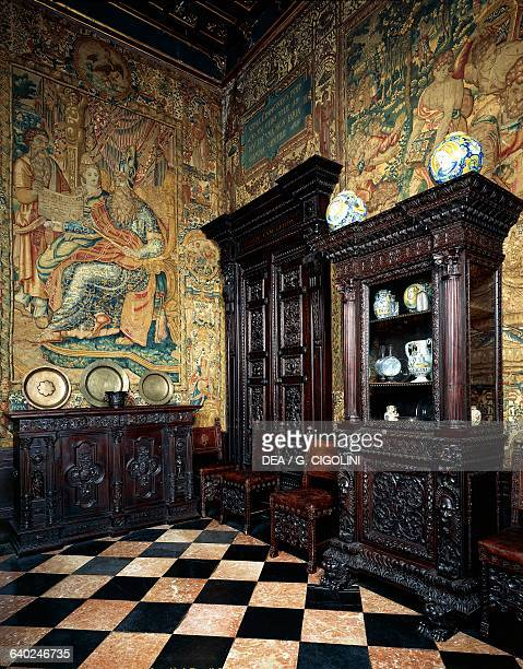 Wooden furniture and tapestries from Brussels ca 1570 depicting episodes from the life of the Persian King Cyrus Bagatti Valsecchi museum Milan...