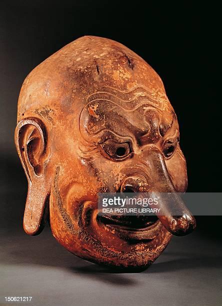 Wooden gigaku mask, Japan. Japanese Civilisation, Asuka period, 6th-7th century.
