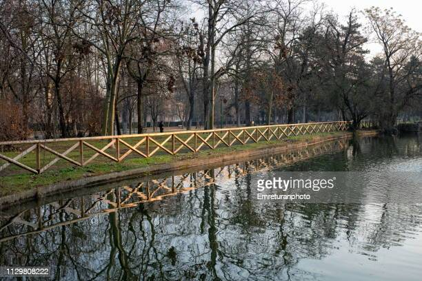 wooden guards and trees near an artificial lake. - emreturanphoto stock pictures, royalty-free photos & images