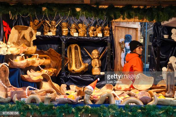 Wooden handicrafts at Christmas market