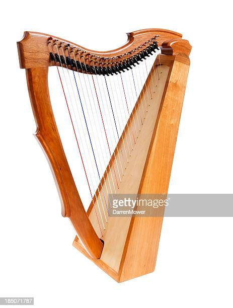 Wooden harp on white background