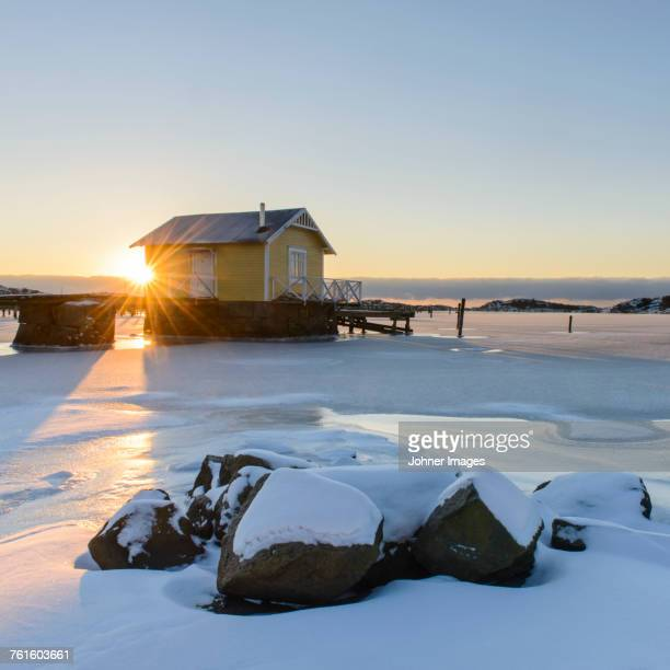 Wooden house at coast
