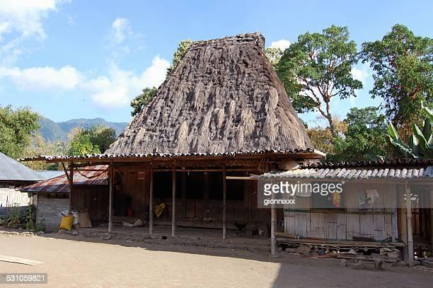 casa de madera en bela, ngada tribe village, bajawa-flores - flores indonesia fotografías e imágenes de stock