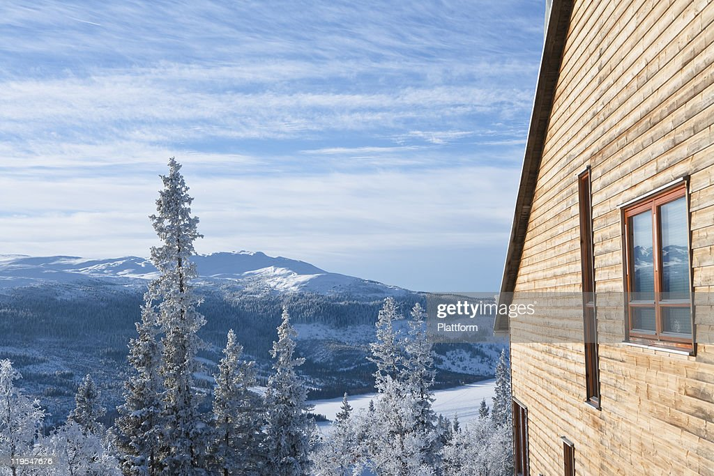 Wooden house in mountain : Stock Photo