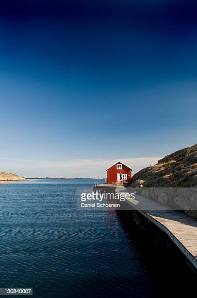 Wooden house near Smoegen, Bohuslaen province, Sweden, Scandinavia, Europe