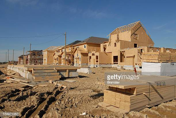 A wooden house under construction