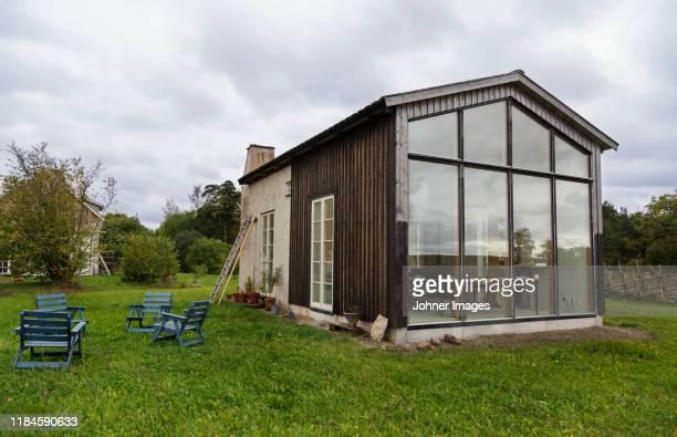 wooden house with glass wall - gotland bildbanksfoton och bilder