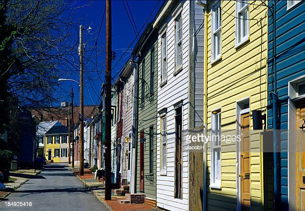 wooden houses, annapolis - annapolis stock pictures, royalty-free photos & images
