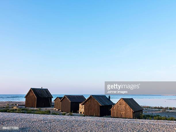 Wooden houses at sea