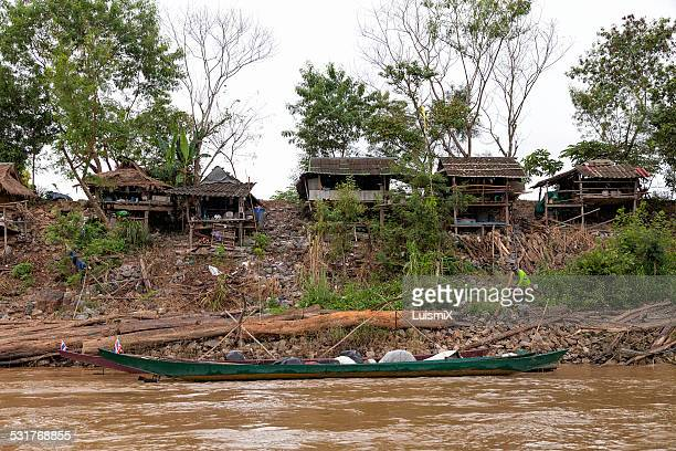 Wooden houses in Mekong River
