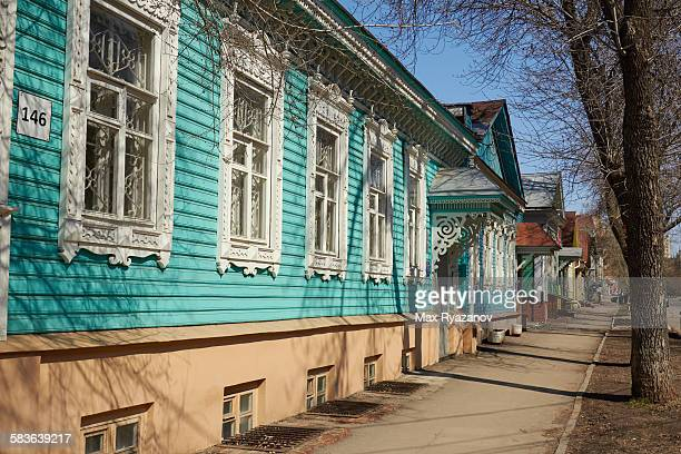Wooden houses in traditional Russian style
