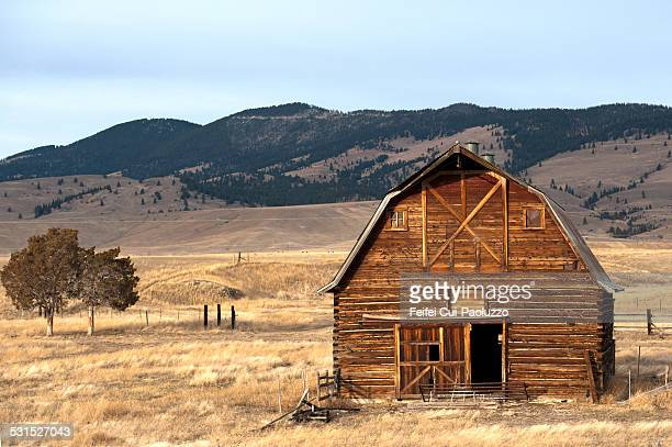 Wooden hut in the countryside of  Missoula, Montana, USA