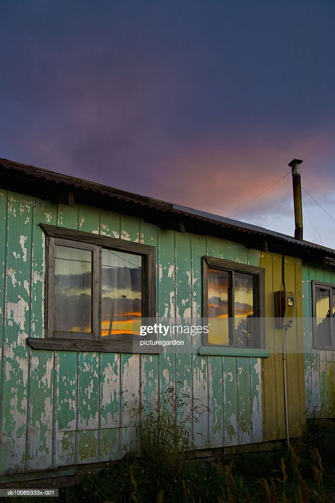 Wooden hut with overcast sky : Foto stock