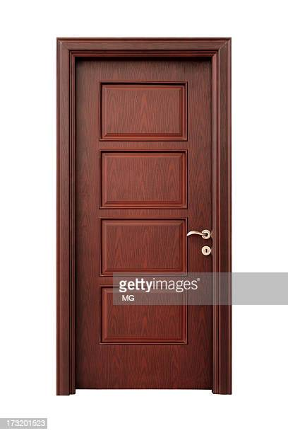 Wooden interior door with handle