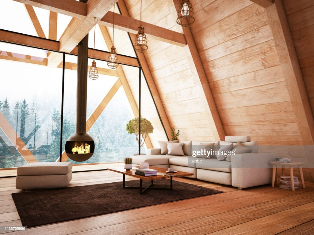 Wooden Interior with Funiture and Fireplace : Stock Photo