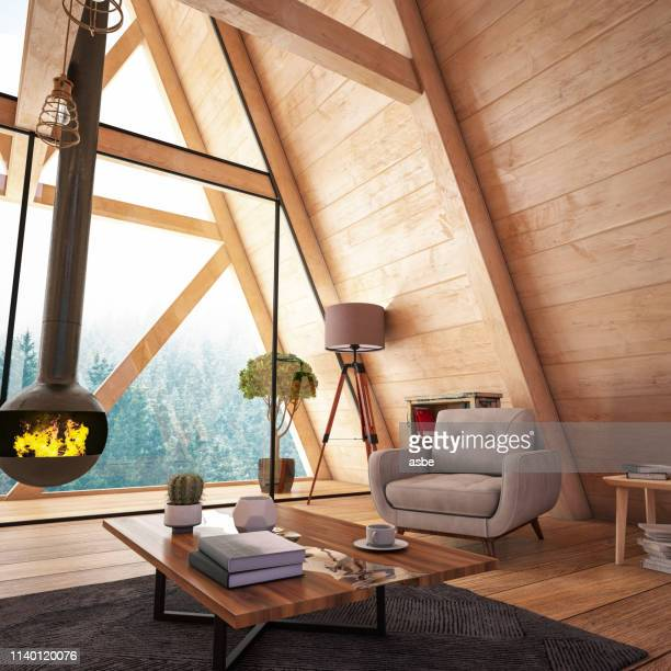 wooden interior with funiture and fireplace - chalet stock pictures, royalty-free photos & images