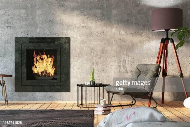 holz-interieur mit funiture und kamin - rustikal stock-fotos und bilder