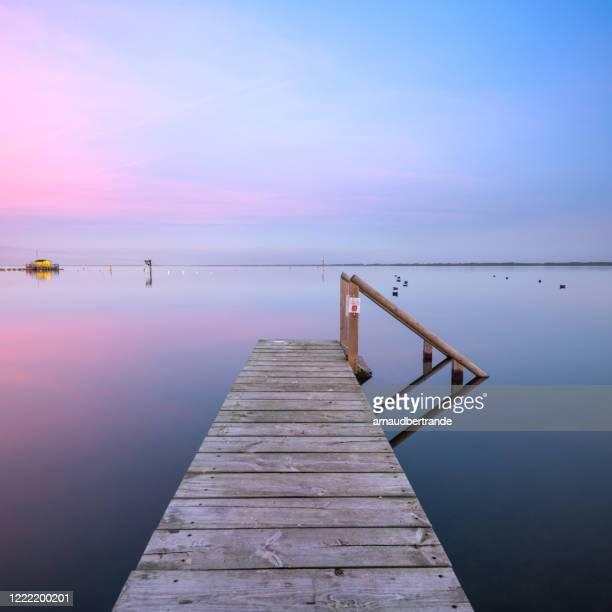 wooden jetty at sunset, lac de biscarrosse et de parentis, landes, france - biscarrosse photos et images de collection