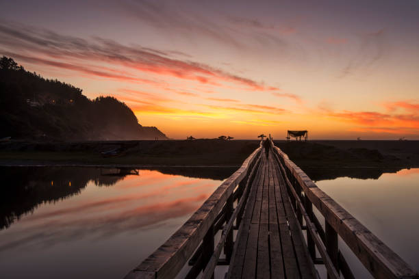 Wooden jetty by lake,  Buchupureo, Cobquecura, Chile