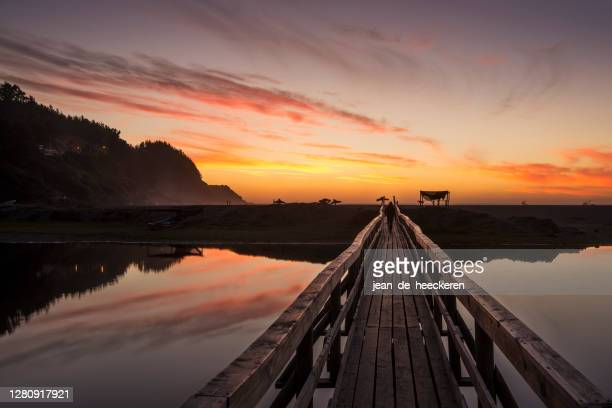 wooden jetty by lake,  buchupureo, cobquecura, chile - biobio stock pictures, royalty-free photos & images
