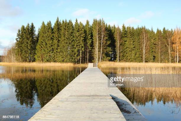 Wooden Jetty leading to private Island, crop