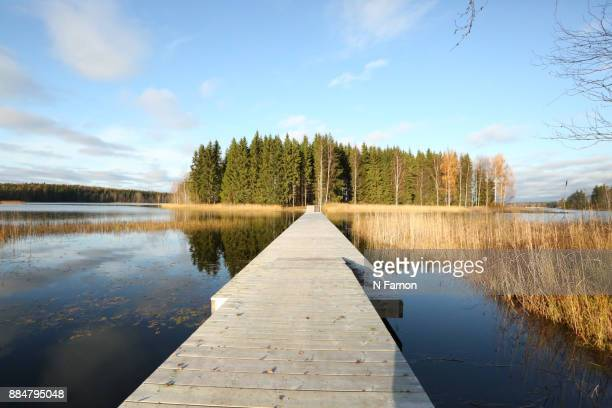 Wooden Jetty leading to private Island, wide angle