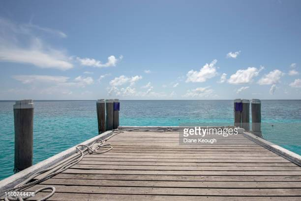 wooden jetty out over the ocean - jetty stock pictures, royalty-free photos & images