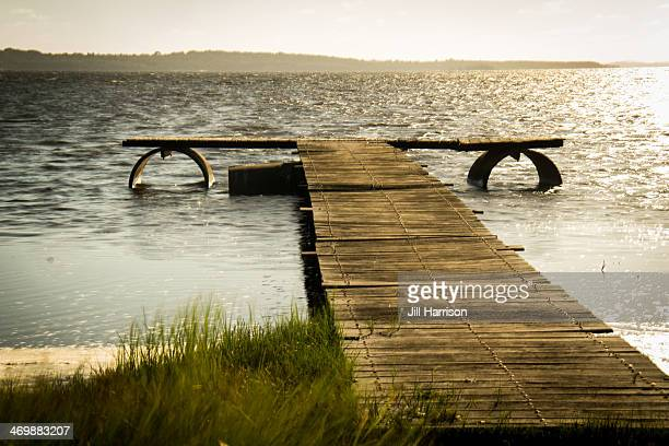 wooden jetty - jill harrison stock pictures, royalty-free photos & images