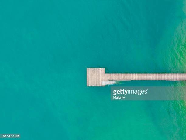 Wooden jetty, top view, view from above, aerial view