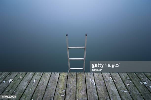 Wooden jetty with ladder, Lake Chiemsee, Bavaria, Germany