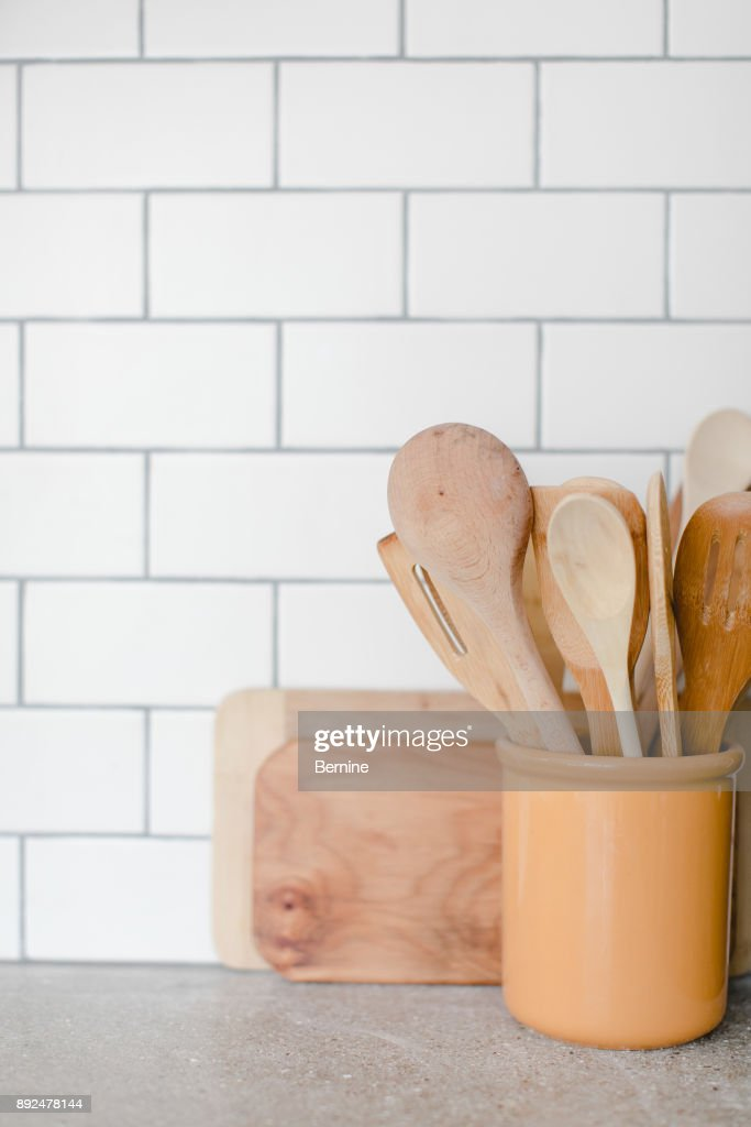 Wooden Kitchen Utensils in Yellow Container : Stock Photo