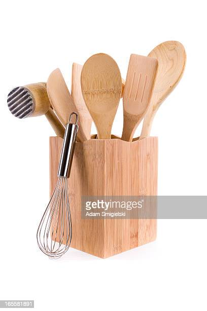 wooden kitchen utensils - bamboo instrument stock photos and pictures